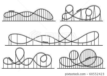 Roller coaster silhouette. Amusement park atractions, switchback attraction and rollercoaster vector silhouettes set 60552423
