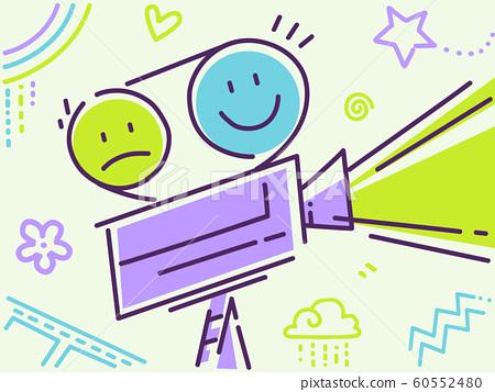 Kids Film Projector Smiley Illustration 60552480