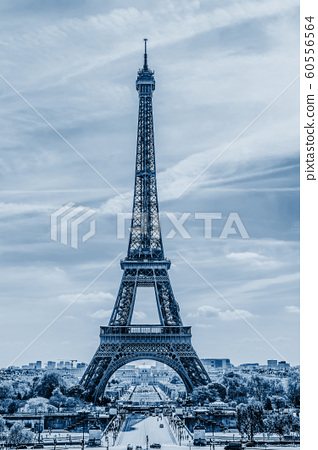 Eiffel Tower in Paris, classic blue, color 2020 60556564