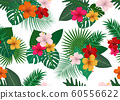Seamless pattern of tropical floral with leaves  60556622
