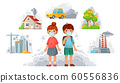 Children in N95 masks. Dirty environment protection, face mask protect from street smoke and PM2. 5 vector illustration 60556836
