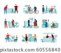 Flea market. Street trading, fleas marketplace sale and second hand clothes swap meet vector flat illustration set 60556840