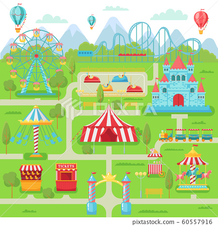Amusement park map. Family entertainment festival attractions carousel, roller coaster and ferris wheel vector illustration 60557916