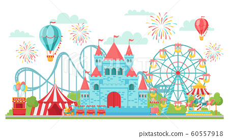 Amusement park. Roller coaster, festival carousel and ferris wheel attractions isolated vector illustration 60557918