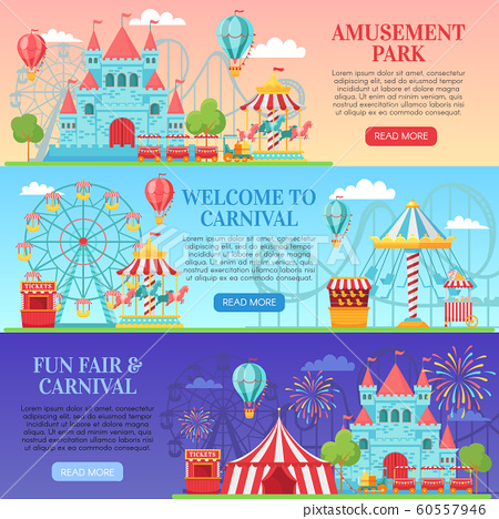 Amusement park banner. Amusing festival attractions, kids carousel and ferris wheel attraction banners background vector illustration 60557946