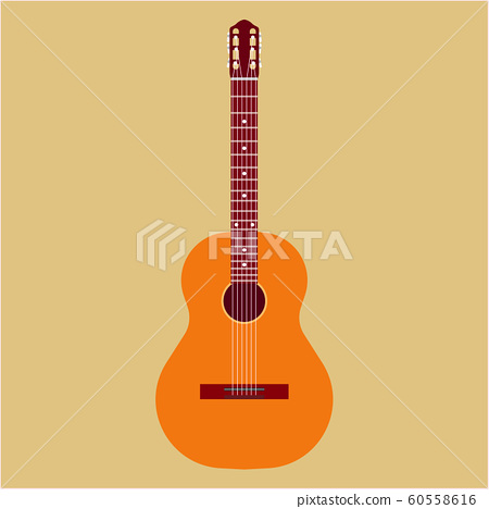 Acoustic guitar vector illustration icon. Music 60558616