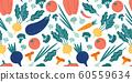 Seamless vegetables pattern. Hand drawn doodle vegetarian food. Vegetable kitchen radish, vegan beets and tomato vector illustration 60559634