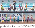 Subway. People waiting train in urban metro underground platform vector background 60559677