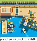 Ship top view. Seaside cargo boats dockyard terminal vector map above ship illustrations 60559682