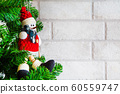Christmas holiday background with nice Snowman toy new year tree 60559747