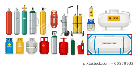 Gas tanks. Compressed oxygen propane dangerous cylinder tanks vector cartoon collection 60559932
