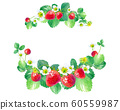 Strawberry watercolor illustration, round frame 60559987