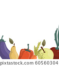 Set of autumn vegetables drawn in cartoon style, harvest time. 60560304