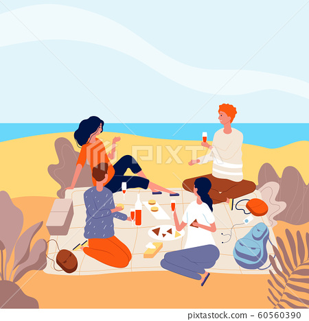 Picnic seaside. Family relax at summer beach outdoor people beverage dinner funny adults picnic vector flat characters 60560390