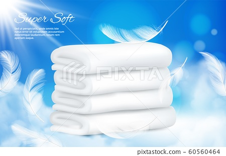 Realistic towels background. Vector white towels with feathers 60560464