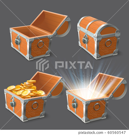 Wooden chest. Treasure coffer, old shiny gold case and lock closed or open empty chests 3d vector illustration set 60560547