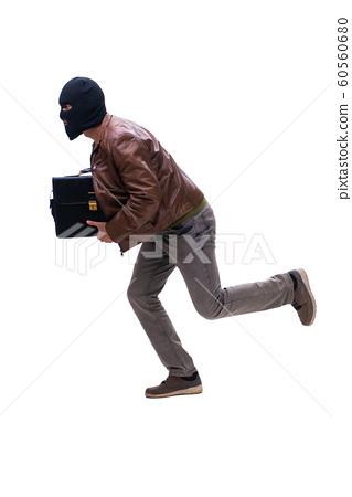 Robber wearing balaclava isolated on white background 60560680