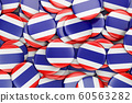 Badges with flag of Thailand, 3D rendering 60563282