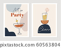 Set of New Years greeting cards, party invitations. Cocktails, drink glasses with orange fruit and sparkler. Cheers and lets go party text. Abstract geometric shapes background. Vector illustrations. 60563804