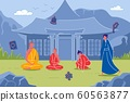 Buddhist Monks Against Background with Pagoda 60563877