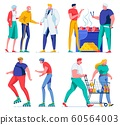 Senior Couple Visit Doctor, Grill Meat, Shopping. 60564003
