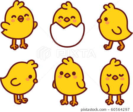 Cute cartoon baby chicken set 60564297