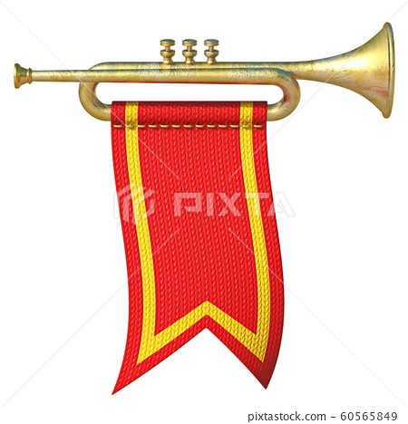 Trumpet with red flag 3D 60565849