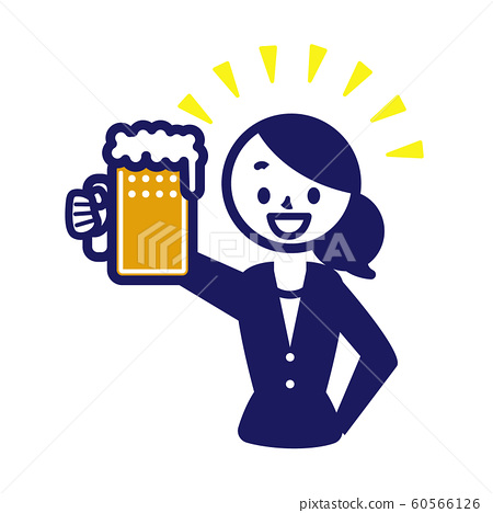 Business suit sign simple female beer drinking party 60566126