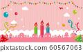生日/生日快樂/彩色和流行橫幅插圖(粉紅色)/無文字 60567063