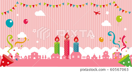 Birthday / Happy Birthday / Colorful and pop banner illustration (pink) / No text 60567063