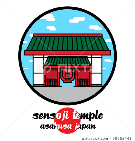 Circle icon Sensoji Temple. vector illustration 60568441