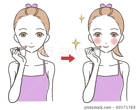 Women who make up cosmetics before and after 60571768