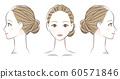 女性面部正面和轮廓线图 60571846