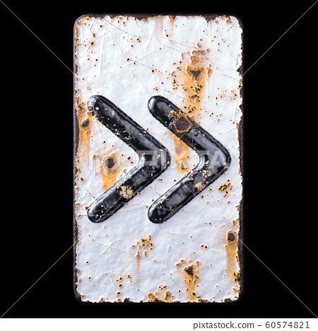 Symbol right pointing double angle quotation mark made of forged metal on the background fragment of a metal surface with cracked rust. 60574821