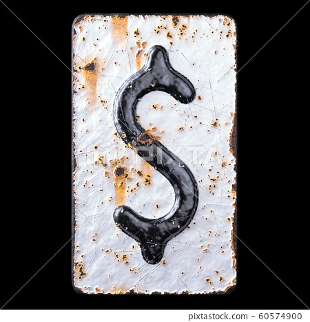 Symbol dollar made of forged metal on the background fragment of a metal surface with cracked rust. 60574900