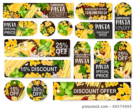 Pasta food, store discount tags and labels 60574993
