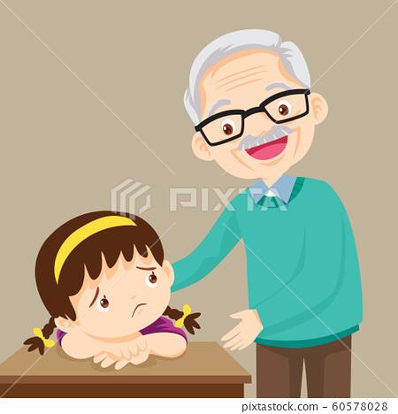 Grandfather comforting sad girl grieving 60578028