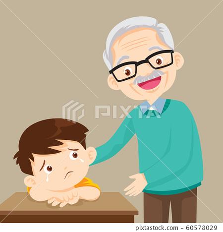 Grandfather comforting sad boy grieving 60578029