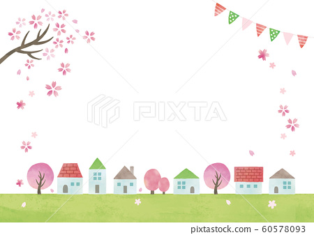 水彩房子,田野和櫻花 60578093