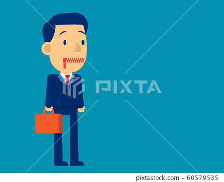 Businessman zippered mouth. Concept business sad 60579535