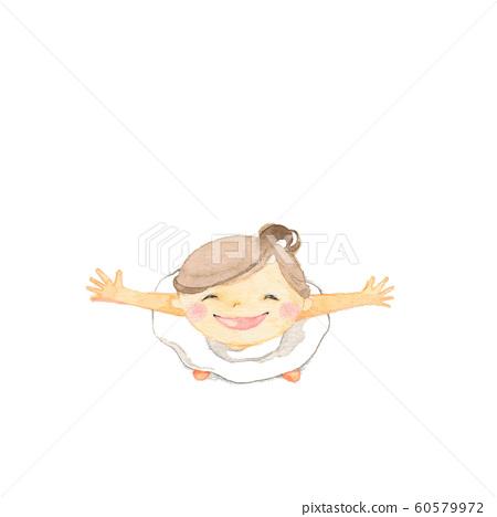 Girl spreading both hands 60579972