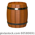 3d render of wooden barrel with gold rivets isolated over white background 60580691