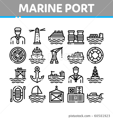 Marine Port Transport Collection Icons Set Vector 60581923