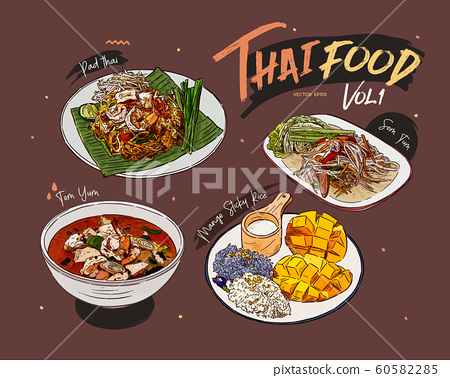 Thai food collection, hand draw sketch vector. 60582285