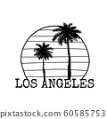 Los Angeles symbol line drawing with palm tree silhouette. Vector illustration 60585753