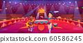 Circus show with animal handler and bear on bike 60586245