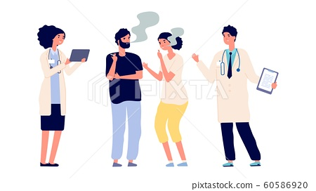Doctors and smokers. Drug addiction. Vector male female characters. Doctors offer help get rid of addiction 60586920