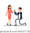 An offer of marriage. Man proposes a woman to marry him and gives an engagement ring. Vector illustration in cartoon style. 60587718