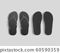 Pair of blank black beach slippers mockup, top, sole view 60590359