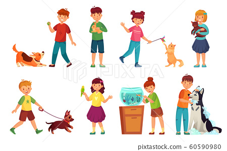 Kids with pets. Kid hug pet, child love animals and playing with dog or cute cat cartoon vector illustration set 60590980